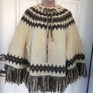 Sweaters - Cream and brown Alpaca fringed sweater / poncho